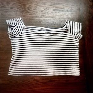 Women's black and white striped crop top